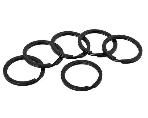 Flat Key Chain Rings 1 and 1.25 Inch Metal Split Ring Set of 40 - Black