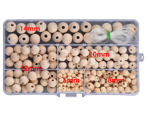 220 Pieces Wooden Beads with Storage Box for Jewelry Making