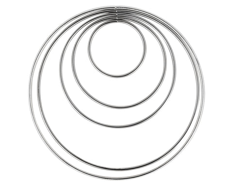 Electroplating Metal Hoops 10 Pieces for Dream Catcher - Silver
