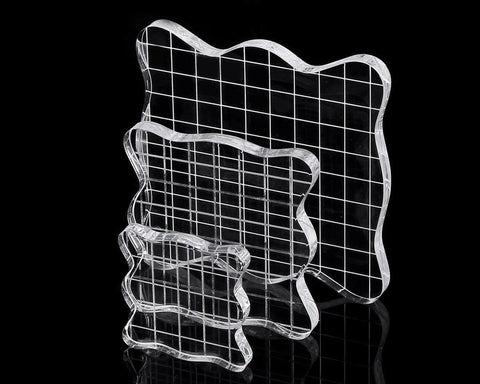 Acrylic Stamp Block with Grid Lines Set of 3