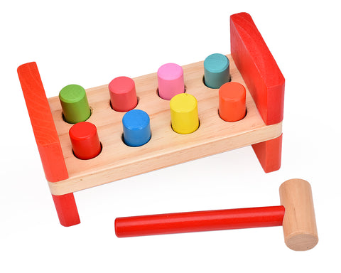 Wooden Pounding Bench Toy with Hammer for Kids Toddlers
