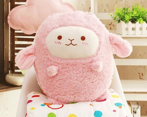 15'' Sheep Hand Warmer Pillow with Quilt - Pink