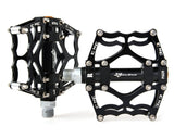 2 Pcs Lightweight Aluminum Bike Bearing Pedals Spider Pattern - Black