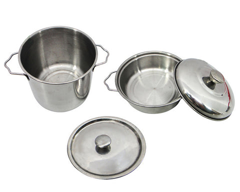 13 Pieces Stainless Steel Cooking Toys Set for Role Playing - Silver