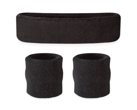 3 Pieces Elastic Sport Headband Wristband Set - Black