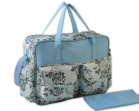 Flower Series Waterproof Mother Nursery Handbag - Blue