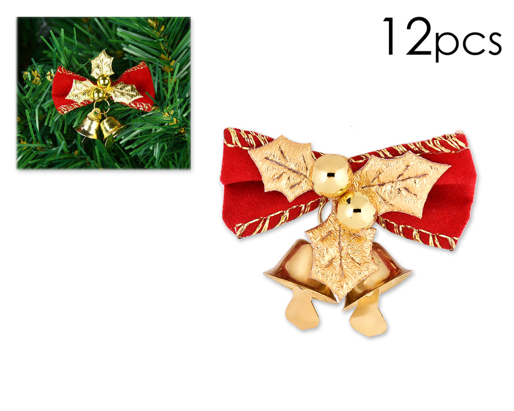 12 Pieces Bow Christmas Ornaments with Bells - Red