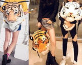 3D Tiger Head Large Plush Backpack - Yellow