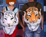 3D Tiger Head Large Plush Backpack - White