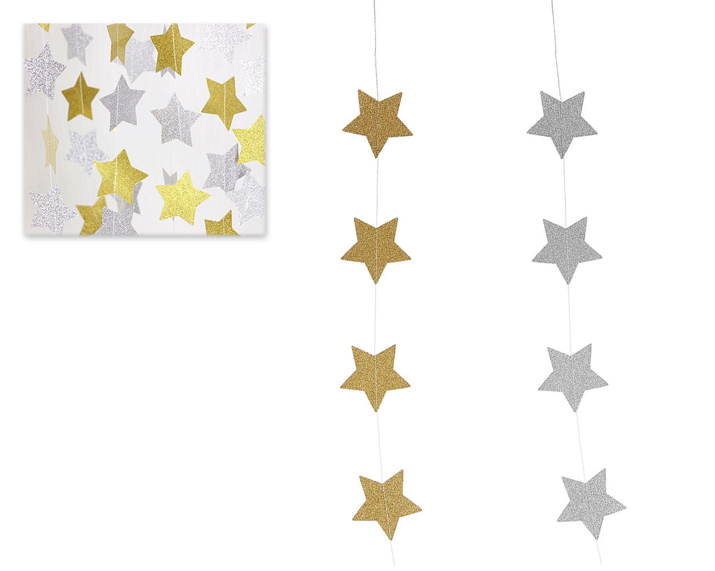 2 Pcs Sparkling Star Garlands Bunting for Wedding or Parties - Gold and Silver
