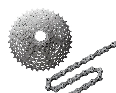 Shimano HG400 9 Speed Cassette and HG53 112 Links 9 Speed Bike Chain