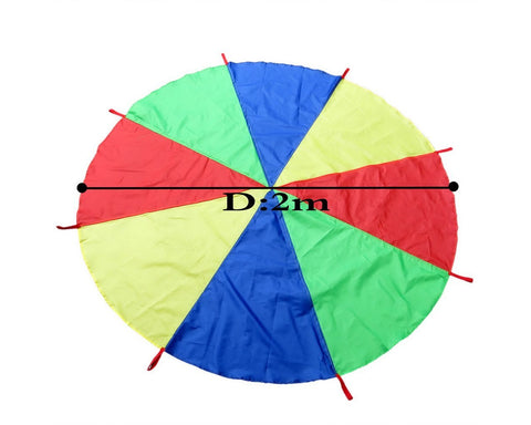 2m Rainbow Play Parachute with Handles for Kids Game
