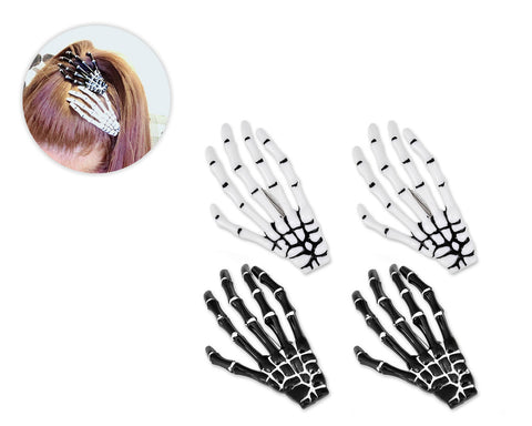 2 Pairs Gothic Skeleton Hands Bone Hair Clips - Black and White