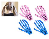 2 Pairs Gothic Skeleton Hands Bone Hair Clips - Blue and Pink