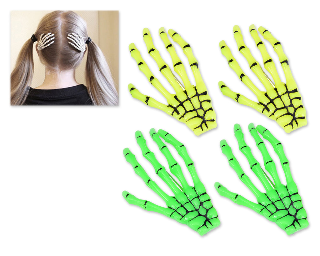 2 Pairs Gothic Skeleton Hands Bone Hair Clips - Yellow and Green