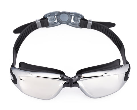Swimming Goggles with Anti-fog Mirror Lens and Case - Black
