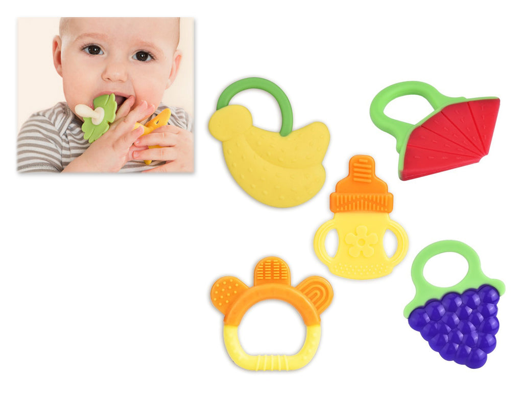 5 Pieces Fruit Soft Silicone Baby Teether Baby Teething Toy Set