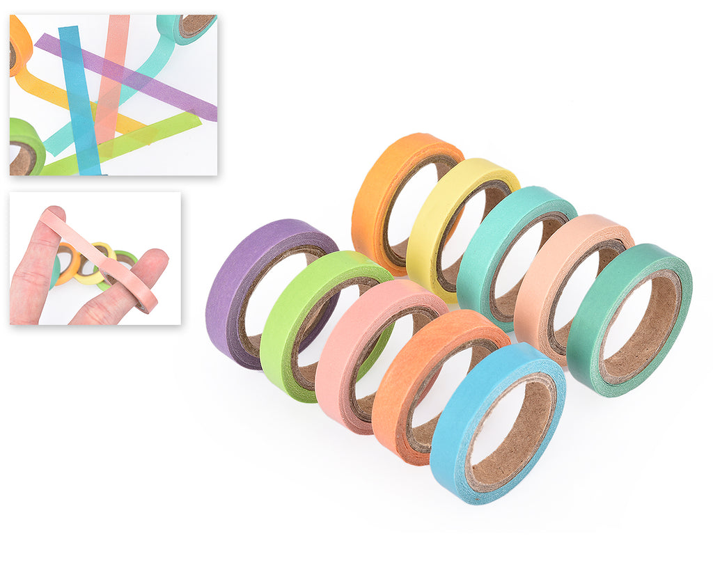 10 Pcs 5m Rainbow Craft Décor Paper Washi Masking Tape
