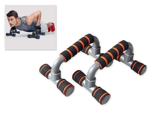 2 Pieces Foam Handle Push up Bars for Strength Training - Orange and Black