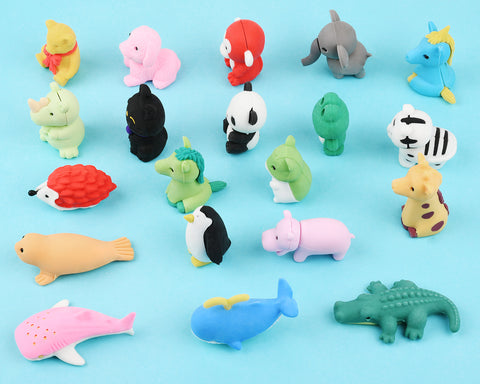 Pencil Erasers 20 Pieces Animal Erasers