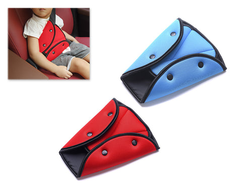 2 Pieces Child Safety Car Seat Belt Adjuster Pad - Blue and Red