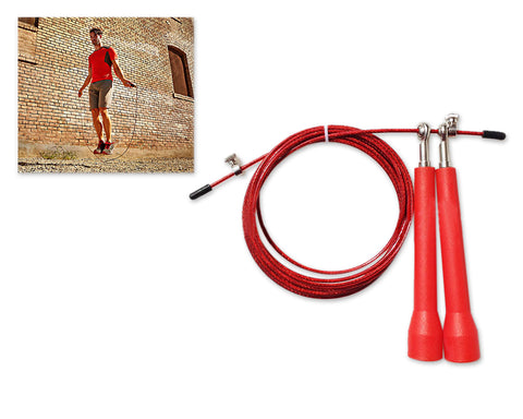 3m Adjustable Length Ball Bearing Speed Skipping Rope - Red