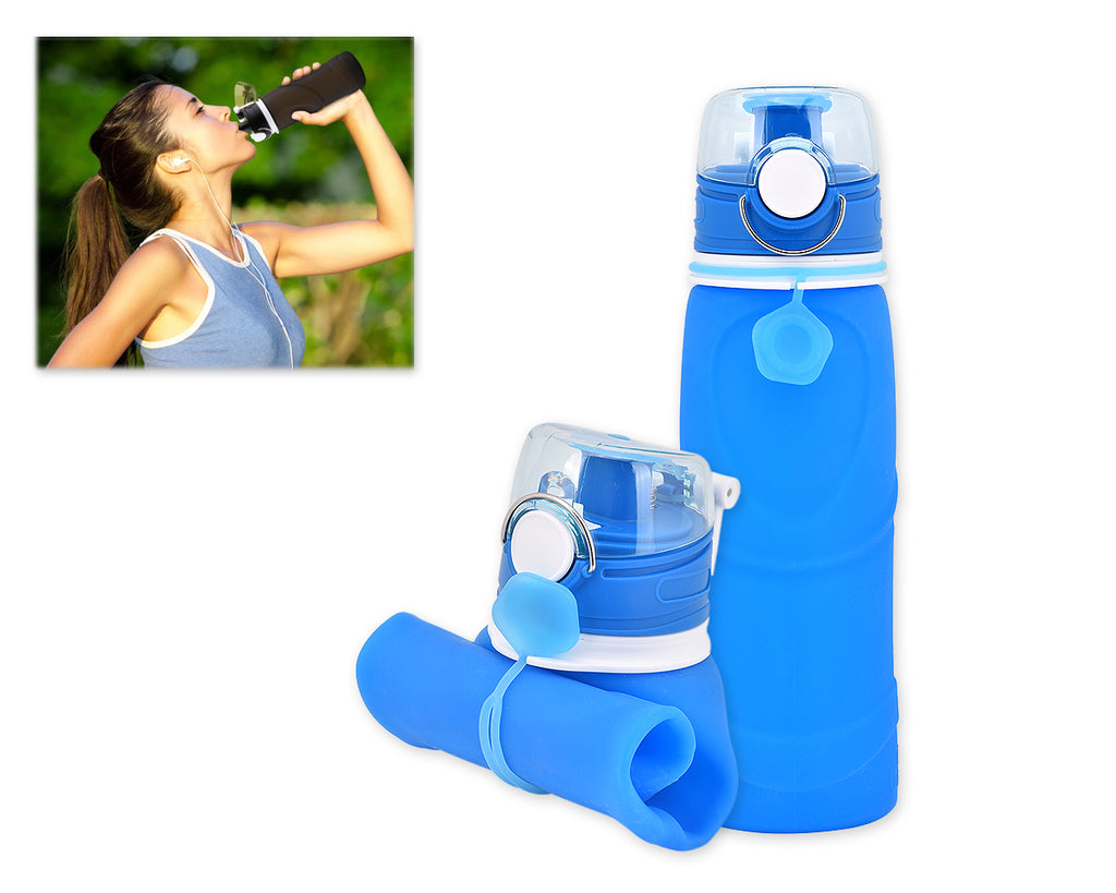750ml Collapsible Leak Proof Silicone Water Bottle for Cycling - Blue