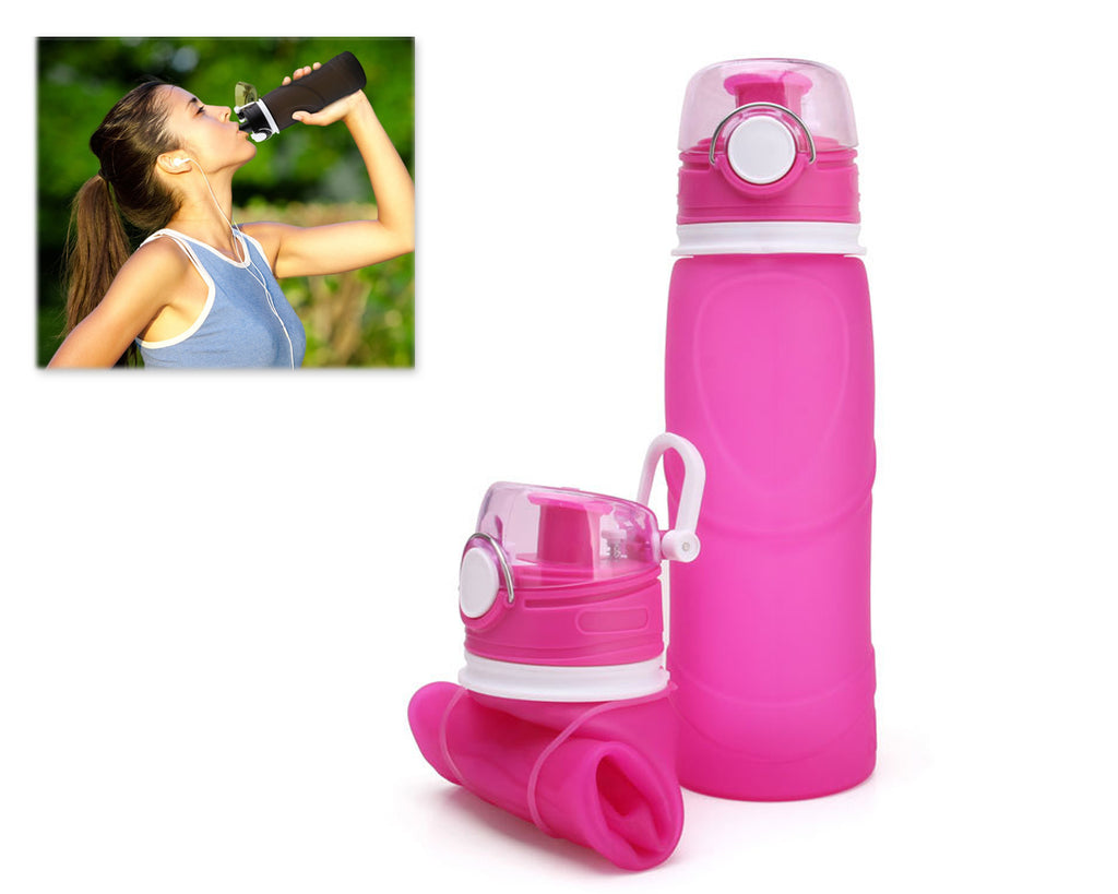 750ml Collapsible Leak Proof Silicone Water Bottle for Cycling - Pink