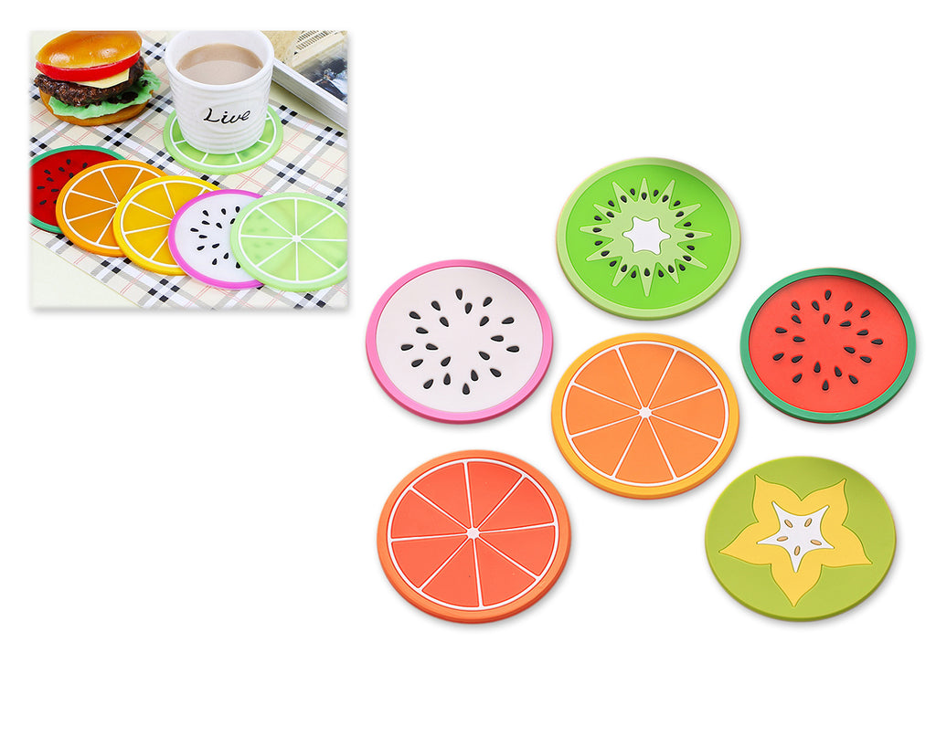 6 Pieces Fruit Series Silicone Cup Mat