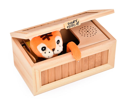 Wooden Tiger Useless Box Practical Jokes Toy
