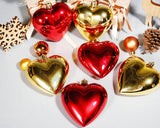3 Pieces Heart Shaped Christmas Baubles for Christmas Tree Ornaments