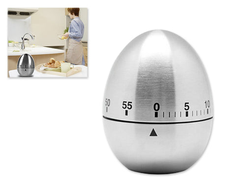 Stainless Steel 60 Minutes Egg Shaped Rotating Kitchen Timer