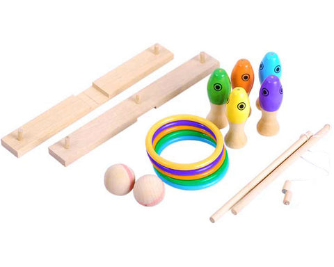 3 in 1 Wooden Educational Toy Ring Toss Game Set for Kids