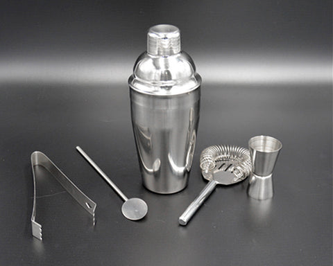 5 Pieces Stainless Steel Cocktail Set with 550ml Cocktail Shaker