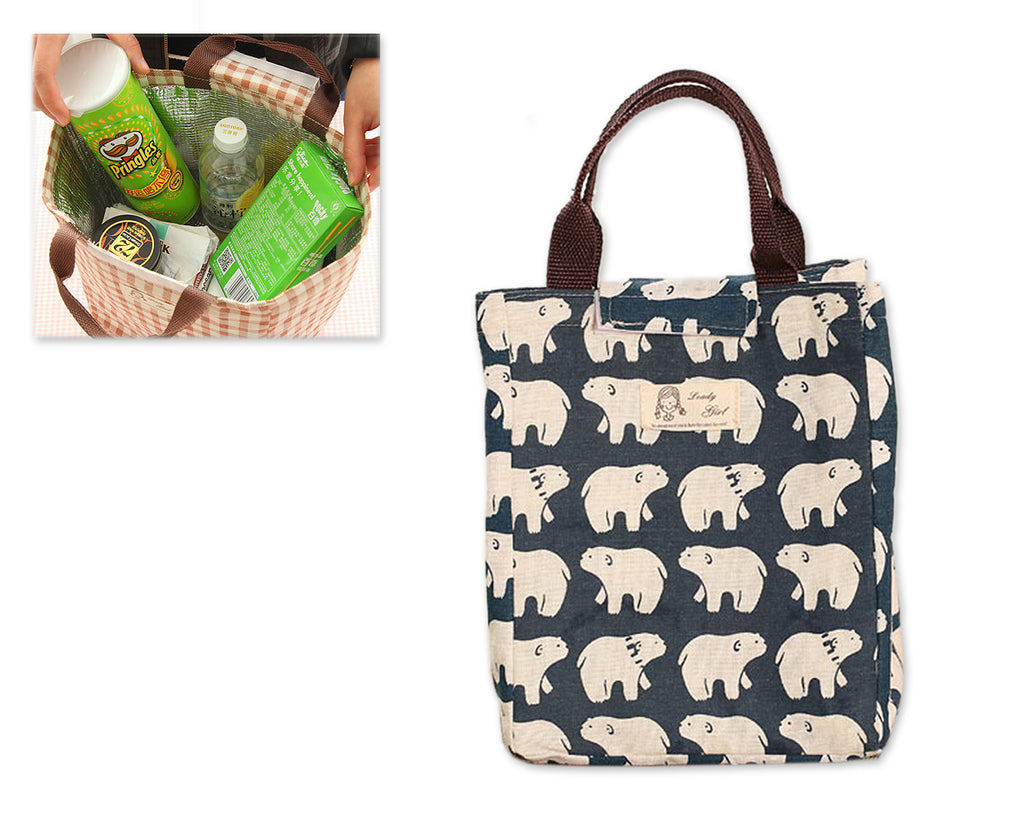 Waterproof Cotton Insulated Thermal Lunch Bag - Bear