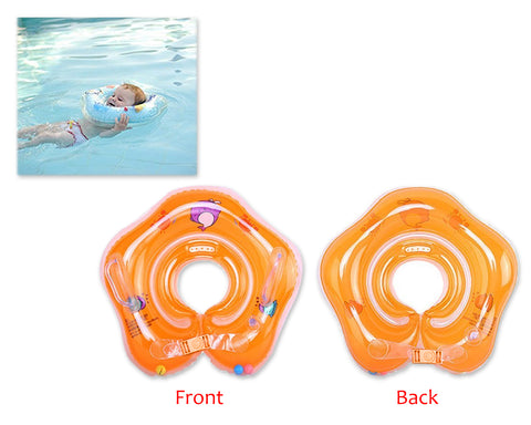 Flower Adjustable Baby Neck Float Swimming Ring - Orange