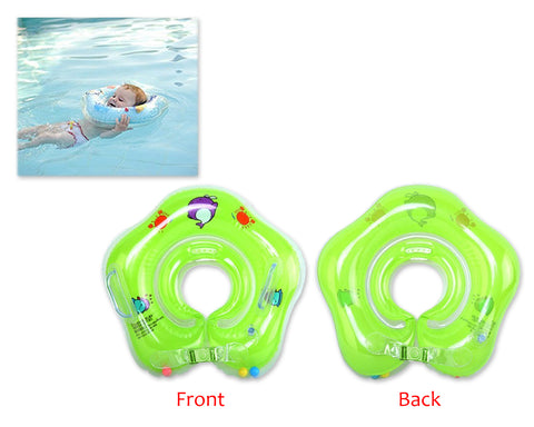 Flower Adjustable Baby Neck Float Swimming Ring - Green