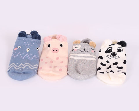4 Pairs Animal Pattern Soft Cartoon Ankle Socks Set