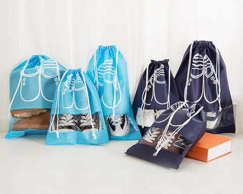 5 Pieces Portable Shoe Bags with Drawstring - Navy Blue