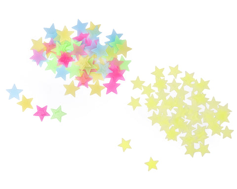 100 Pieces Luminous Star Shaped Wall Stickers for Bedroom Decoration