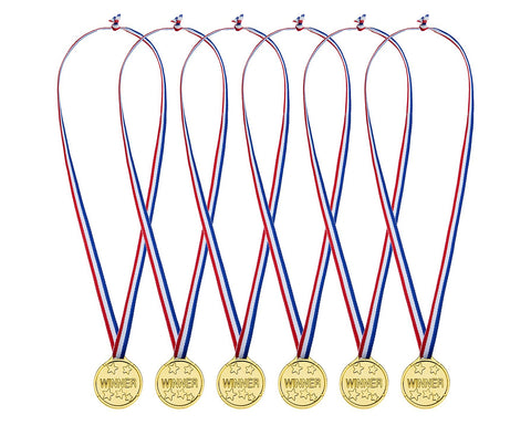 24 Pieces Plastic Winner Medals Kids Gold Medals for Party