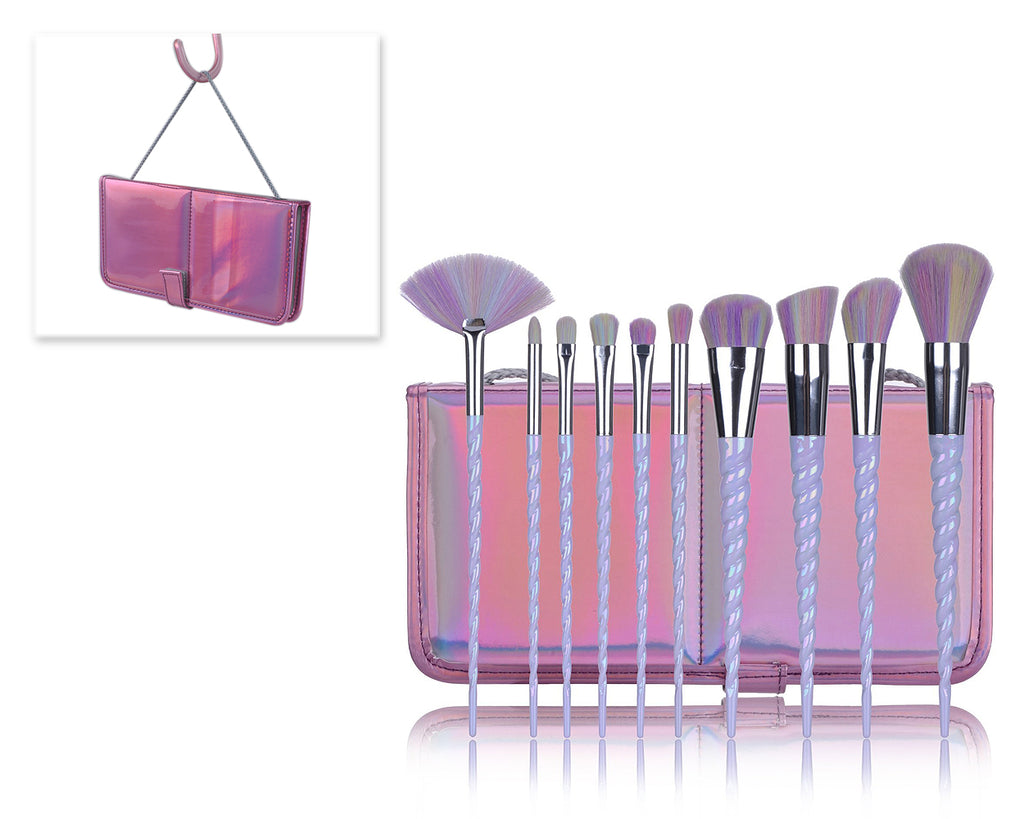 10 Pcs Professional Makeup Brush Set with Rectangle Bag - Pink