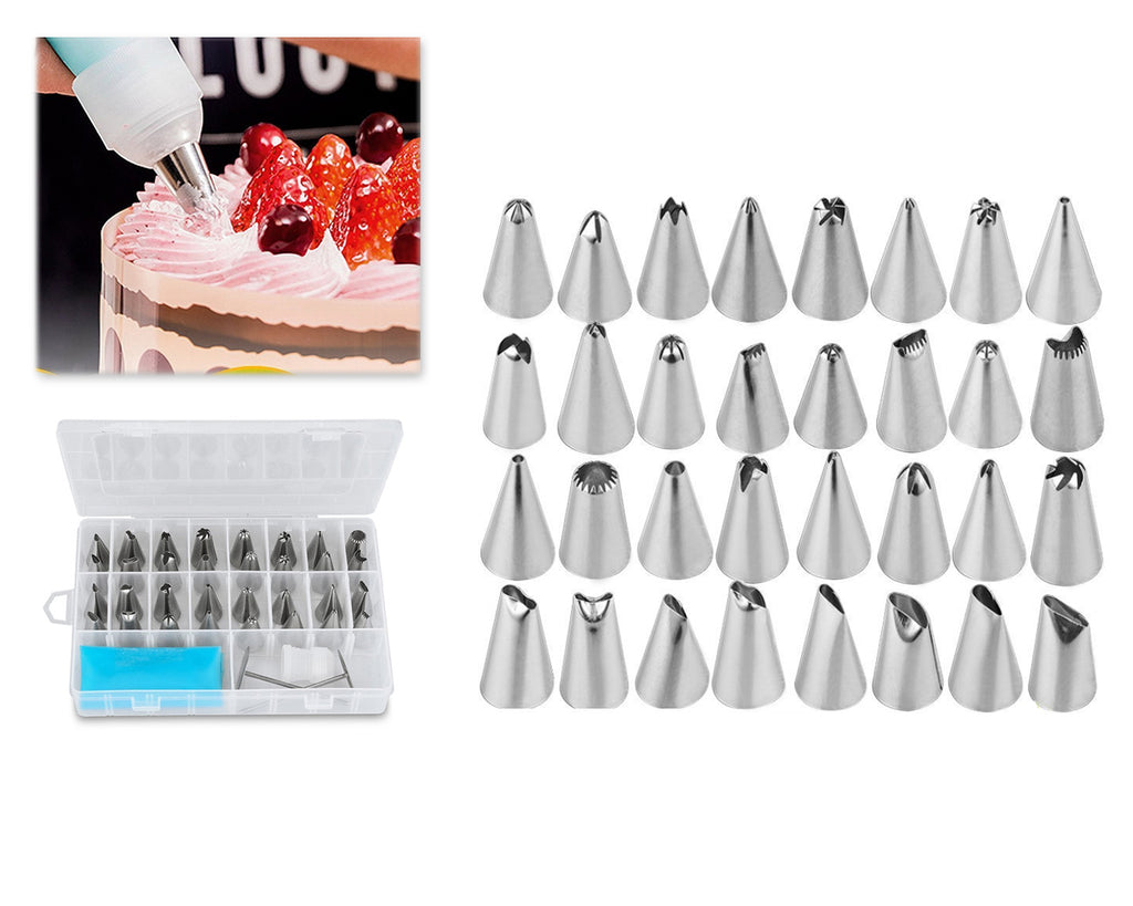 38 Pieces Stainless Steel Cake Decorating Piping Nozzles - Silver