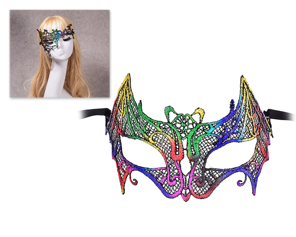 Colorful Halloween Masquerade Party Fancy Dress Sexy Lace Eye Mask - Swan