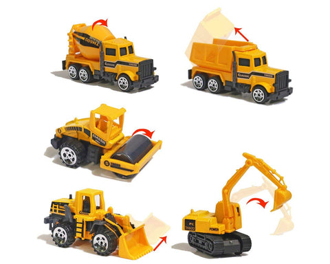 Construction Vehicles Alloy Toy Trunk Model Set of 5