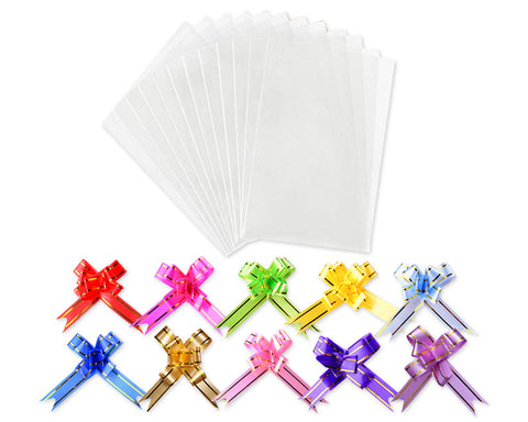 Cellophane Bags 100 Pieces Clear Treat Bags with Colorful Pull Bows