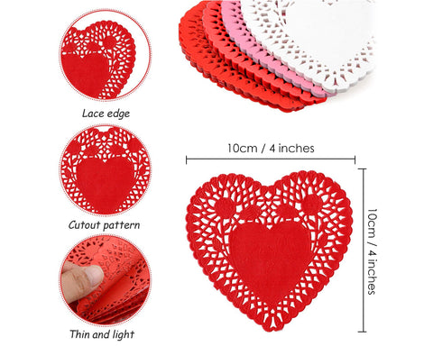 Paper Heart Doilies 100 Pieces Heart Shaped Lace Doilies Paper