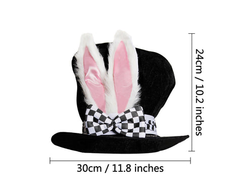 Easter Costume Bunny Hat Black Top Hat with White Rabbit Ears Easter Hat