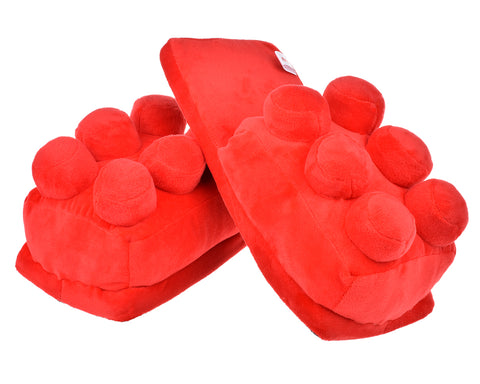 One Size Building Block Slippers - Red