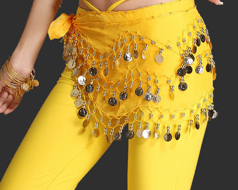 Belly Dance Skirt 10 Pieces Hip Scarves with Dangling Silver Coins